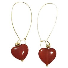 Heart Shape Red Carnelian Dangling Earring Hand Wrapped on Yellow Gold Plate Ear Wire Sheppard's Hook
