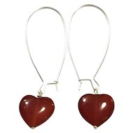 Heart Shape Red Carnelian Hand Wrapped on Silver Plate Ear Wire Sheppard's Hook