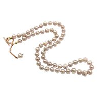 6.5-7mm High Quality Pink Lavender Purple Freshwater Cultured Pearl Necklace with Rose Gold Plate Toggle Clasp