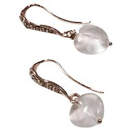 Heart Shape Rose Quartz Earring on Rose Gold Plate Ear Wire with Pave Crystals