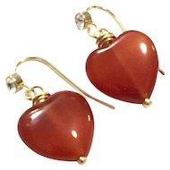 Heart Shape Red Carnelian Dangling Earring on a Gold Plate Ear Wire with CZ