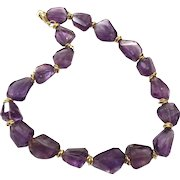 Intense Purple Madagascar Amethyst necklace with Matte Gold Plate Clasp and Accents
