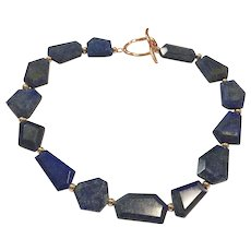 Large Chunky Royal Blue Lapis Lazuli Choker Necklace with Rose Gold Plate Accents