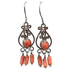 New Vintage Natural Red Mediterranean Coral & Sterling Silver Chandelier Earring