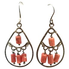 New Vintage Natural Red Mediterranean Coral & Oxidized Sterling Silver Chandelier Earring