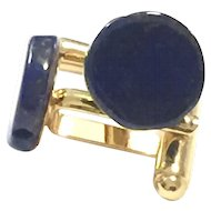 Royal Blue Lapis Lazuli Gold Plate Cuff Links