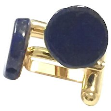 Royal Blue Lapis Lazuli Gold Plate Cuff Links