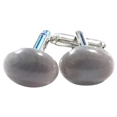 Grey Botswana Agate Cuff Links in White Gold Color