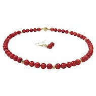 7.5mm Light Red Coral Bead Necklace and Earring