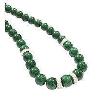 7.5mm Imperial Emerald Green Jadeite Jade 18K White Gold 1.10ct Diamond Necklace