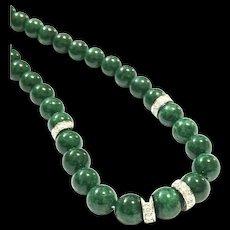 New Vintage 7.5mm Imperial Emerald Green Jadeite Jade 18K White Gold 1.10ct Diamond Necklace
