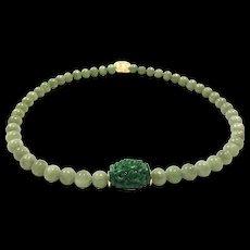 New Vintage Natural Color Jadeite Jade Necklace Hand Carved Dark Emerald Green and Apple Green