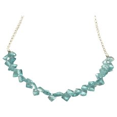 Bright Blue Apatite Gemstone Necklace with Silver Plate Chain