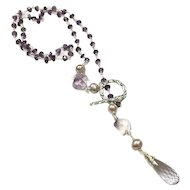 Delicate Purple and Pink Amethyst Lariat Style Necklace Sterling Silver Chain and Lavender Pearl