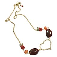 Red Italian Mediterranean Coral and Carnelian Necklace with Gold Plate Crystal Heart