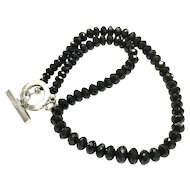 Exceptional Black Spinel Faceted Rondelle Necklace with Platinum Plated Clasp