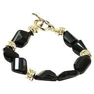 150ct Black Spinel Faceted Chunks Bracelet with Gold Plate Clasps and Spacers