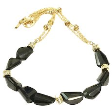 225ct Black Spinel Faceted Chunks Necklace with Matte Sandblasted Gold Plate Chain