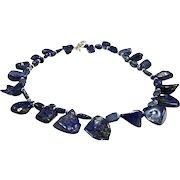 Natural Blue High Quality Lapis Lazuli Nugget Necklace With Sterling Silver Clasp