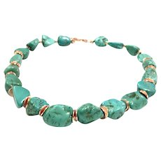 Natural Turquoise Nugget Bead Necklace Seafoam Greenish Blue Color