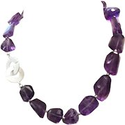 Chunky Madagascar Intense Purple Amethyst Faceted Choker Necklace Sterling Silver Clasp