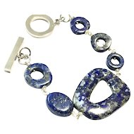 Unique Snowflake Pattern Lapis Lazuli Bracelet with Non-Tarnish Platinum Plate Clasp