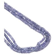 New Vintage Triple Strands Tanzanite Beads Necklace with 14K Gold and Diamond Clasp
