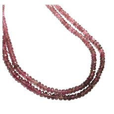New Vintage Double Strands Shaded Pink Tourmaline Faceted Beads Necklace with Sterling Silver Toggle Clasp