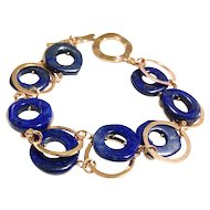 Blue Lapis Lazuli Double Layer Bracelet with Rose Gold Plate Links and Clasp