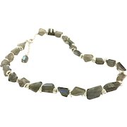 Blue Flash Labradorite Faceted Chunks Necklace with Real Silver Plate Matte Finish Clasp with Extension Chain