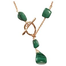 Lariat Style Malachite Necklace in Rose Gold Plate Chain and Toggle