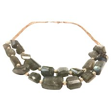 Double Layer Labradorite Necklace with Rose Gold Plate Chain and Micro Pave CZ Clasp