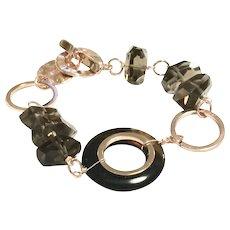 Smoky Quartz and Brown Agate Loop Bracelet in Rose Gold Plate