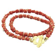 Natural Salmon Red Italian Mediterranean Coral Branch Nugget Beads Necklace with a 18K Gold Vermeil Sterling Silver Flower Toggle Clasp