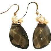 Smoky Quartz and Pearl Rose Gold Plate Earring