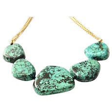 Blue Green Turquoise Necklace Matte Gold Plate Chain