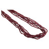 New vintage 6 strands Rhodolite Garnet bead necklace Sterling Silver Clasp with Freshwater pearls