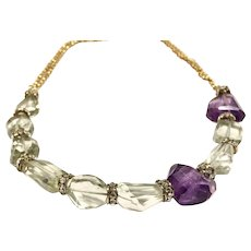 125ct Green & Purple Amethyst Necklace with Gold Plate Chain