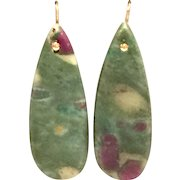 Red Green Ruby Zoisite Long Drop Earring with Rose Gold Plate War Wire