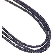 Blue Sapphire Triple Strands Faceted 3mm Beads Necklace Sterling Silver CZ Pave Clasp