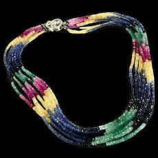 194ct 7 Strands Multicolor Sapphire Beads Necklace Blue Pink Red Ruby Yellow Green Sterling Silver CZ Pave Clasp