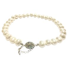 Large 15mm Baroque South Sea Shell Pearls AB Crystal Magnetic Clasp