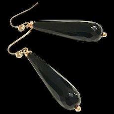 Long Dangling black onyx earring on rose gold plate ear wire