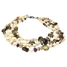 Retro Look Freshwater Cultured Pearls and Smoky Quartz multi-layered necklace