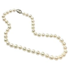 8.5mm -9mm pinkish silvery white cultured pearl necklace with Sterling Silver Clasp
