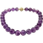 Large Natural Amethyst Bead Ndcklace with Micro Pave CZ Gold Plate Magnetic Ball Clasp - February Birthstone