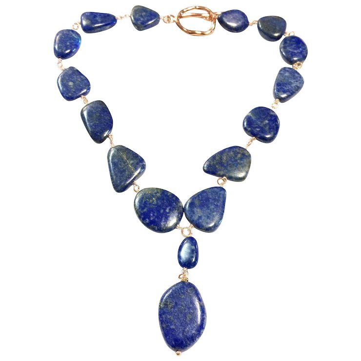 Large Blue Lapis Lazuli Necklace Rose Gold Plate Hand Wired : Fancy ...