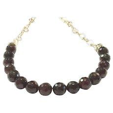Garnet Bead Heart Shape Gold Plate Link Chain Nevklace - January Birthstone Valentine's Gift