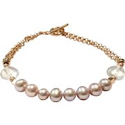 Pink Freshwater Cultured Pearl Bracelet with Heart Shape Rose Quartz