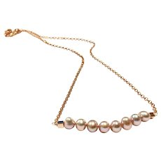 Pink Freshwater Cultured Pearl Necklace with Rose gold plate chain